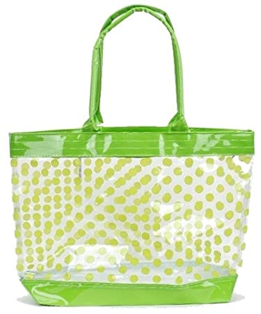Amazon.com: Clear Tote Bag / Beach Bag with Polka Dots (Hot Pink ...